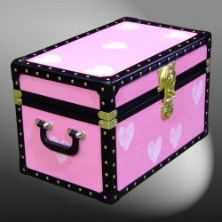 12-081 PINK & HEARTS WOOD WASH Tuck Box Storage Trunk with ABS Trim