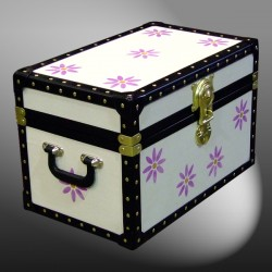 12-079 CREAM & PURPLE FLOWERS WOOD WASH Tuck Box Storage Trunk with ABS Trim