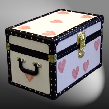 12-080 CREAM & HEARTS WOOD WASH Tuck Box Storage Trunk with ABS Trim