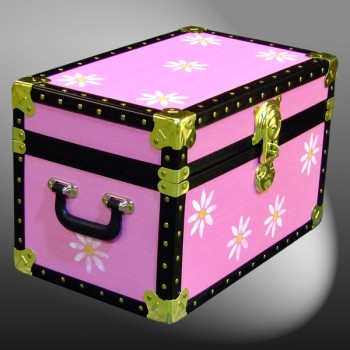 12-081.5 PINK & FLOWERS WOOD WASH Tuck Box Storage Trunk with ABS Trim