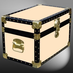 12-098 CL CHAMPAGNE LEATHERETTE Tuck Box Storage Trunk with ABS Trim