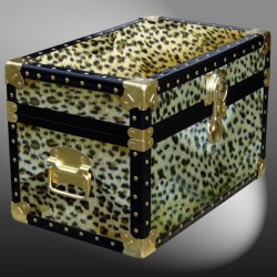 12-102 CH FAUX CHEETAH Tuck Box Storage Trunk with ABS Trim