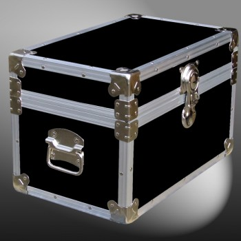 12-061 RE BLACK Tuck Box Storage Trunk with Alloy Trim
