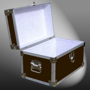 12-095 BLE BROWN LEATHERETTE Tuck Box Storage Trunk with Alloy Trim