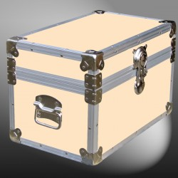 12-099 CLE CHAMPAGNE LEATHERETTE Tuck Box Storage Trunk with Alloy Trim