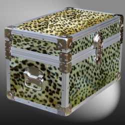 12-103 CHE FAUX CHEETAH Tuck Box Storage Trunk with Alloy Trim