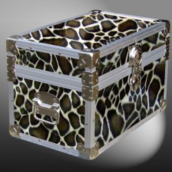 12-105 GE FAUX GIRAFFE Tuck Box Storage Trunk with Alloy Trim