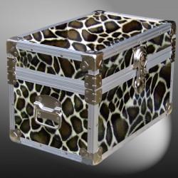 12-105 GE FAUX GIRAFFE Tuck Box Storage Trunk with Alloy Trim