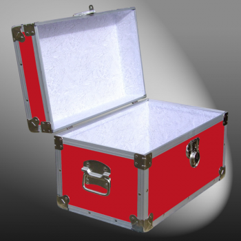 12-059.5 RE RED Tuck Box Storage Trunk with Alloy Trim