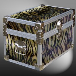 12-107 TIE FAUX TIGER Tuck Box Storage Trunk with Alloy Trim