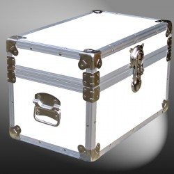 12-097 WLE WHITE LEATHERETTE Tuck Box Storage Trunk with Alloy Trim