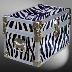 12-101 ZEBE FAUX ZEBRATuck Box Storage Trunk with Alloy Trim