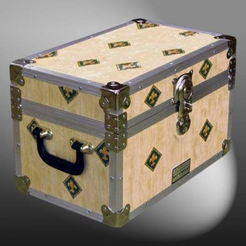 12-072 CIE CREAM-IRIS Tuck Box Storage Trunk with Alloy Trim