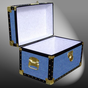 12-063 FD FADED DENIM Tuck Box Storage Trunk with ABS Trim