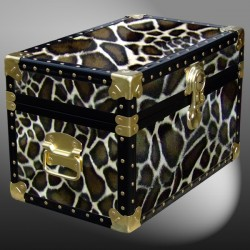 12-104 G FAUX GIRAFFE Tuck Box Storage Trunk with ABS Trim