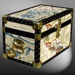 12-093 OCWM OIL CLOTH WORLD MAP Tuck Box Storage Trunk with ABS Trim