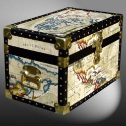 12-093 OCWM OIL CLOTH WORLD MAP Tuck Box Storage Trunk with ABS Trim
