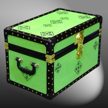12-077 LIME & HERALDIC WOOD WASH Tuck Box Storage Trunk with ABS Trim