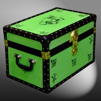 12-076.5 LIME & DRAGON WOOD WASH Tuck Box Storage Trunk with ABS Trim