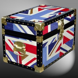 12-092 OCUJ OIL CLOTH UNION JACK Tuck Box Storage Trunk with ABS Trim