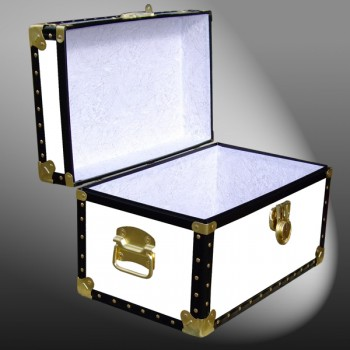 12-096 WL WHITE LEATHERETTE Tuck Box Storage Trunk with ABS Trim