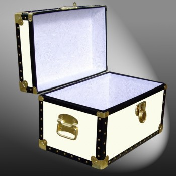 12-070 WOOD WASH CREAM Tuck Box Storage Trunk with ABS Trim