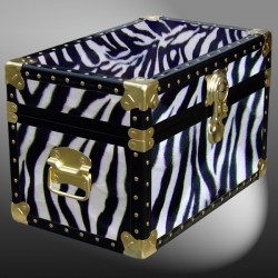 12-100 ZEB FAUX ZEBRA Tuck Box Storage Trunk with ABS Trim