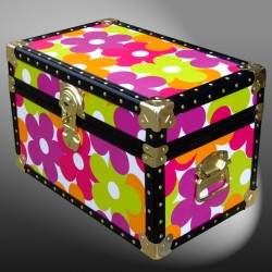 12-092.5 OCND OIL CLOTH NEON DAISY Tuck Box Storage Trunk with ABS Trim