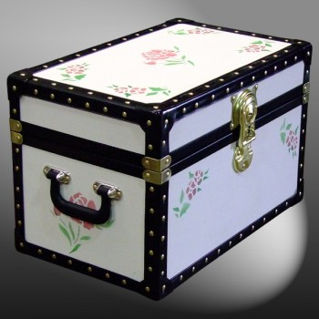 12-078 CREAM & ROSES WOOD WASH Tuck Box Storage Trunk with ABS Trim