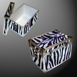 13-130 ZEBE FAUX ZEBRA LP 150 Storage Trunk with Alloy Trim