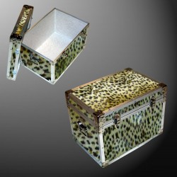 13-132 CHE FAUX CHEETAH LP 150 Storage Trunk with Alloy Trim