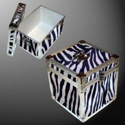 14-120 ZEBE FAUX ZEBRA LP 100 Storage Trunk with Alloy Trim