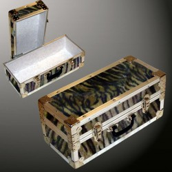 16-090 TIE FAUX TIGER Single 100 Storage Trunk with Alloy Trim