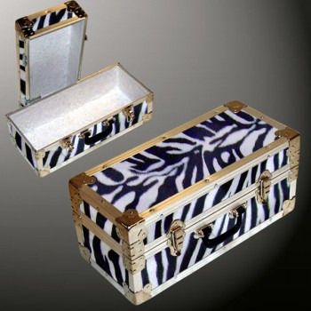 16-084 ZEBE FAUX ZEBRA Single 100 Storage Trunk with Alloy Trim