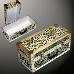 16-086 CHE FAUX CHEETAH Single 100 Storage Trunk with Alloy Trim