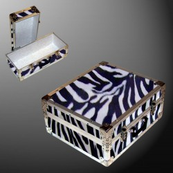 17-115 ZEBE FAUX ZEBRA Single 200 Storage Trunk with Alloy Trim