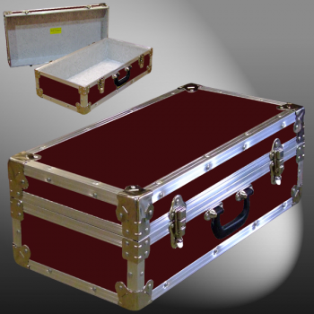18-075 RE MAROON CD 100 Storage Trunk with Alloy Trim