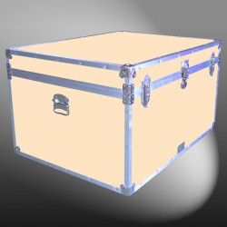 02-209 CLE CHAMPAGNE LEATHERETTE Jumbo Storage Trunk with Alloy Trim