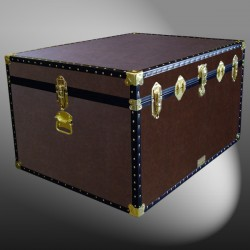 02-204 BL BROWN LEATHERETTE Jumbo Storage Trunk with ABS Trim