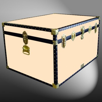 02-208 CL CHAMPAGNE LEATHERETTE Jumbo Storage Trunk with ABS Trim