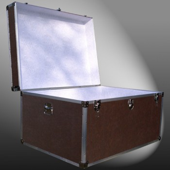 02-205 BLE BROWN LEATHERETTE Jumbo Storage Trunk with Alloy Trim