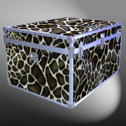 02-215 GE FAUX GIRAFFE Jumbo Storage Trunk with Alloy Trim