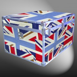 02-203 EOCUJ OIL CLOTH UNION JACK Jumbo Storage Trunk with Alloy Trim