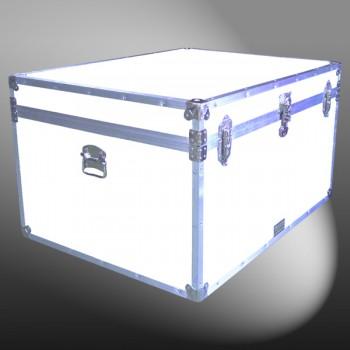 02-207 WLE WHITE LEATHERETTE Jumbo Storage Trunk with Alloy Trim