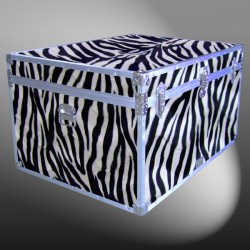 02-211 ZEBE FAUX ZEBRA Jumbo Storage Trunk with Alloy Trim