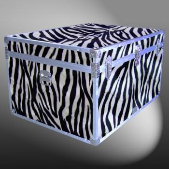 02-211 ZEBE FAUX ZEBRA Jumbo Storage Trunk with Alloy Trim