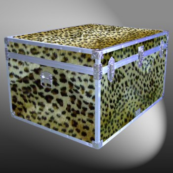 02-213 CHE FAUX CHEETAH Jumbo Storage Trunk with Alloy Trim