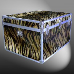 02-217 TIE FAUX TIGER Jumbo Storage Trunk with Alloy Trim