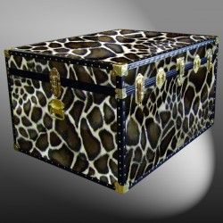 02-214 G FAUX GIRAFFE Jumbo Storage Trunk with ABS Trim