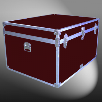02-138 RE MAROON Jumbo Storage Trunk with Alloy Trim